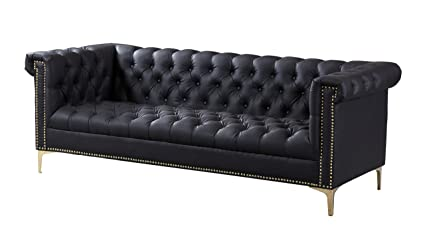 Gentil Iconic Home Winston Modern Tufted Gold Nail Head Trim Black PU Leather Sofa  With Gold Tone