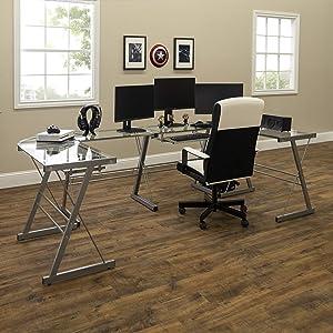 WE Furniture U-shaped Glass top metal Gaming Desk Station, Set of 2, Silver