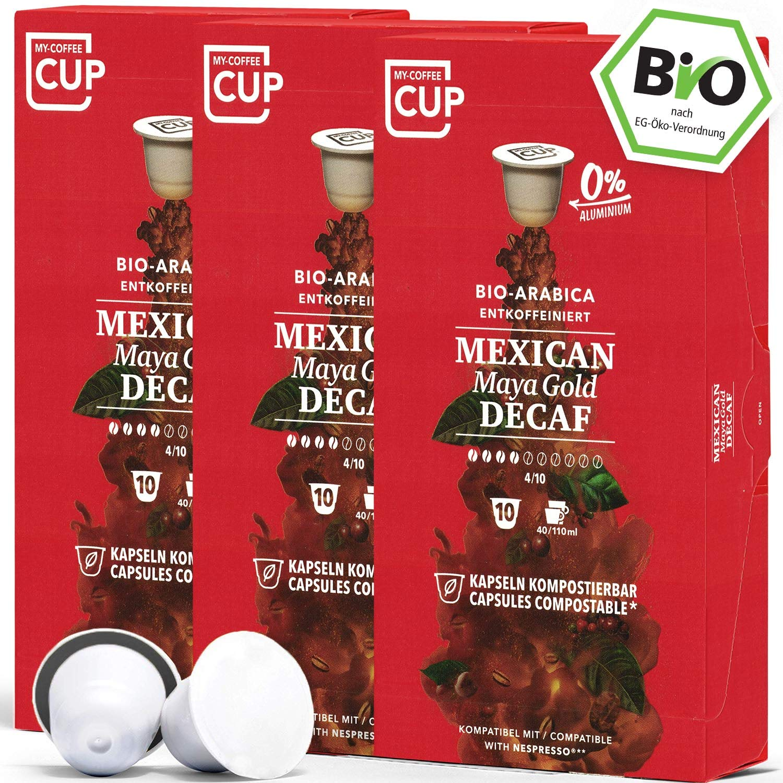 BIO Kaffeekapseln von My-CoffeeCup | Kompatibel mit Nespresso®*-Maschinen | 100% kompostierbare Kapseln ohne Alu (Mexican Maya Gold Decaf, 30 Kapseln)