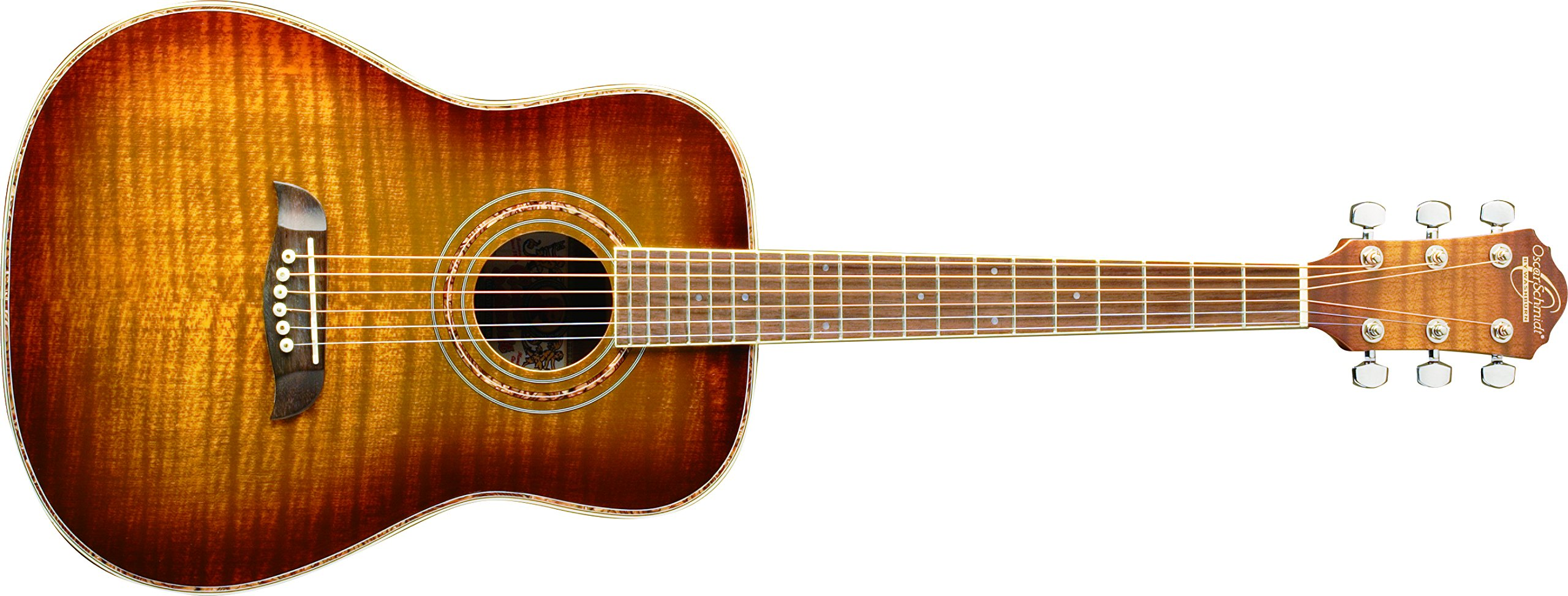 Oscar Schmidt OG1FYS-A-U 3/4 Size Dreadnought Acoustic Guitar (High Gloss)Flame Yellow Sunburst by Oscar Schmidt