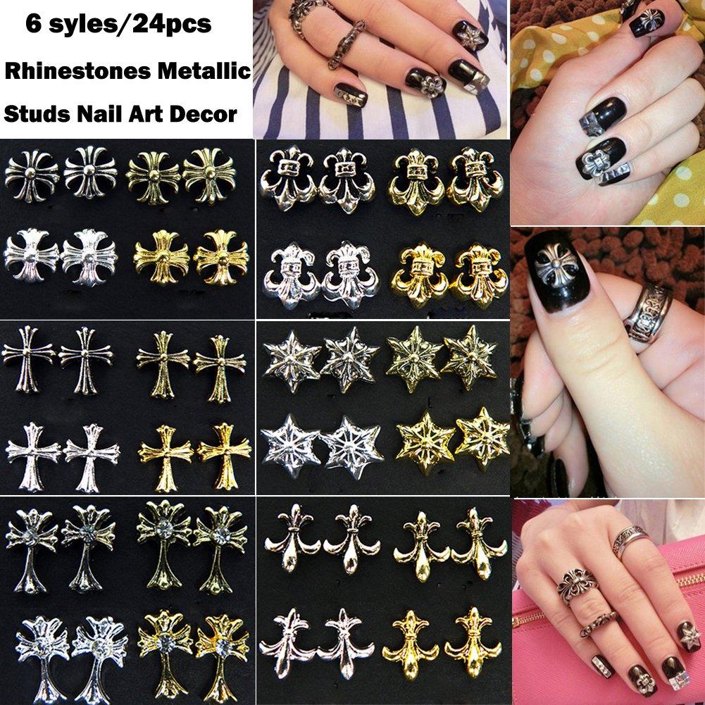 Lookathot 6Styles/24PCS 3d Punk Rock Glitter Rhinestones Metallic Studs Nail Art Decor Stickers Accessories DIY Decoration Tools Cool