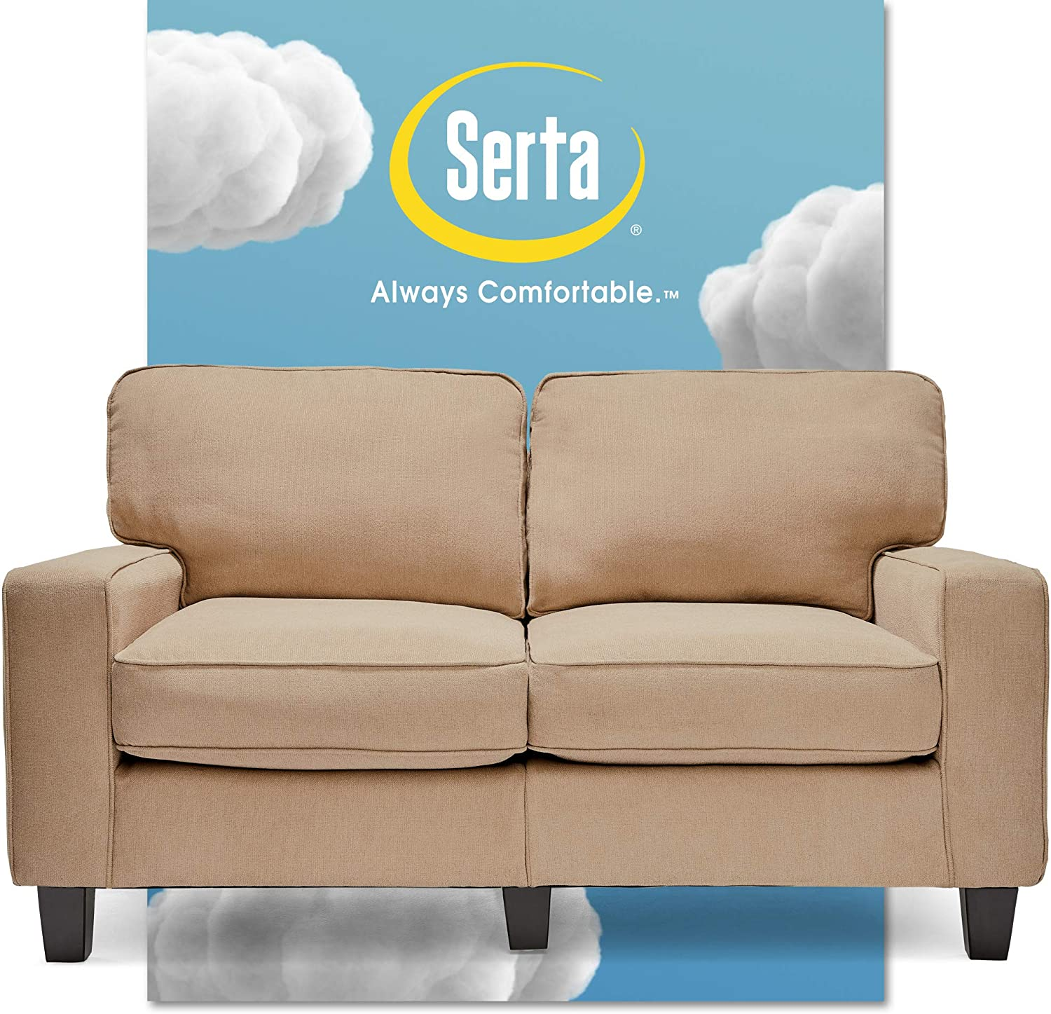 """Serta Palisades Upholstered Sofas for Living Room Modern Design Couch, Straight Arms, Soft Fabric Upholstery, Tool-Free Assembly, 61"""" Loveseat, Silica Sand"""