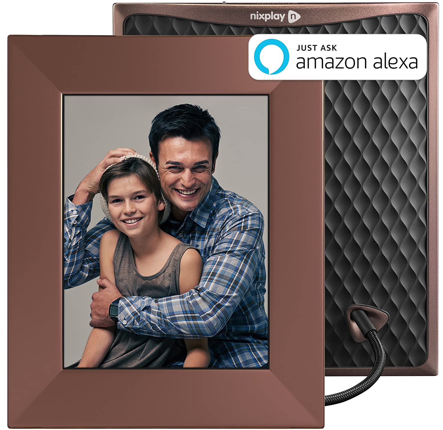 "Nixplay W08E- Burnished Bronze Iris 8"" Wi-Fi Cloud Digital Photo Frame IPS Display, iPhone & Android App, iOS Video Playback, Free 10GB Online Storage, Alexa Integration, Burnished Bronze"