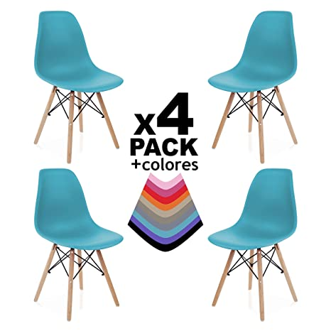 duehome Pack 4 SILLAS Comedor Turquesa, Polipropileno y Madera, 56x47x81 cm, 4 Unidades