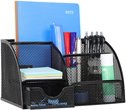 W6002 Black Office Supplies Desk Accessories with 8 Compartments for Home and School Bonsaii Mesh Desk Organizers with Pen Holder