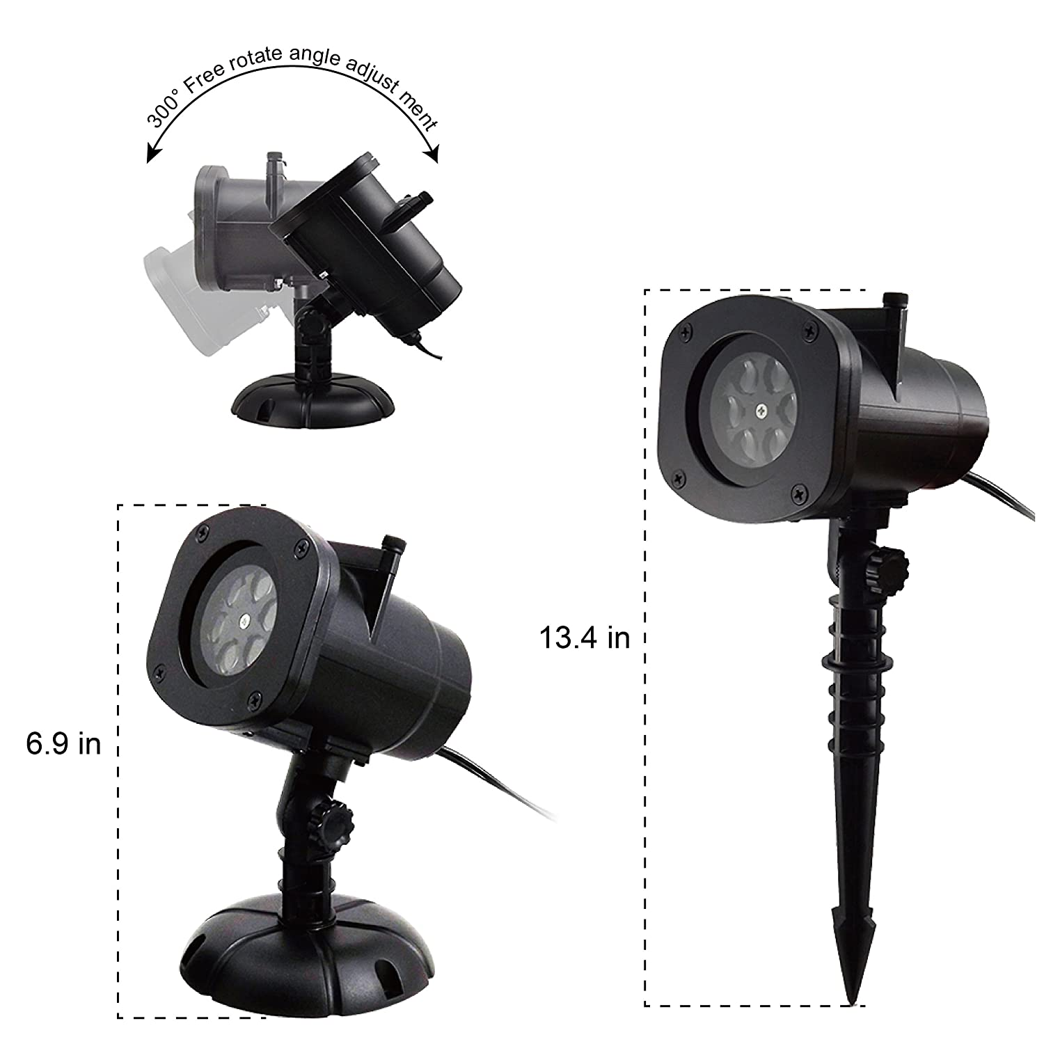 KUDES Christmas Lights Projector, 16 Patterns Outdoor LED Rotating ...