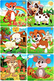 Wooden Jigsaw Puzzles for Kids Ages 3-5 Year Old 20 Piece Animals Colorful Wooden Puzzles for Toddler Children Learning Educ