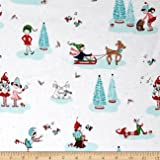 Riley Blake Pixie Noel Main White Fabric By The Yard