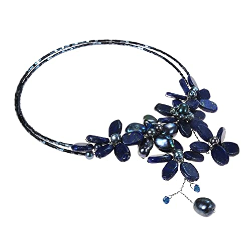 AeraVida Simulated Blue Lapis-Lazuli and Cultured Freshwater Black Pearl Floral Choker Necklace