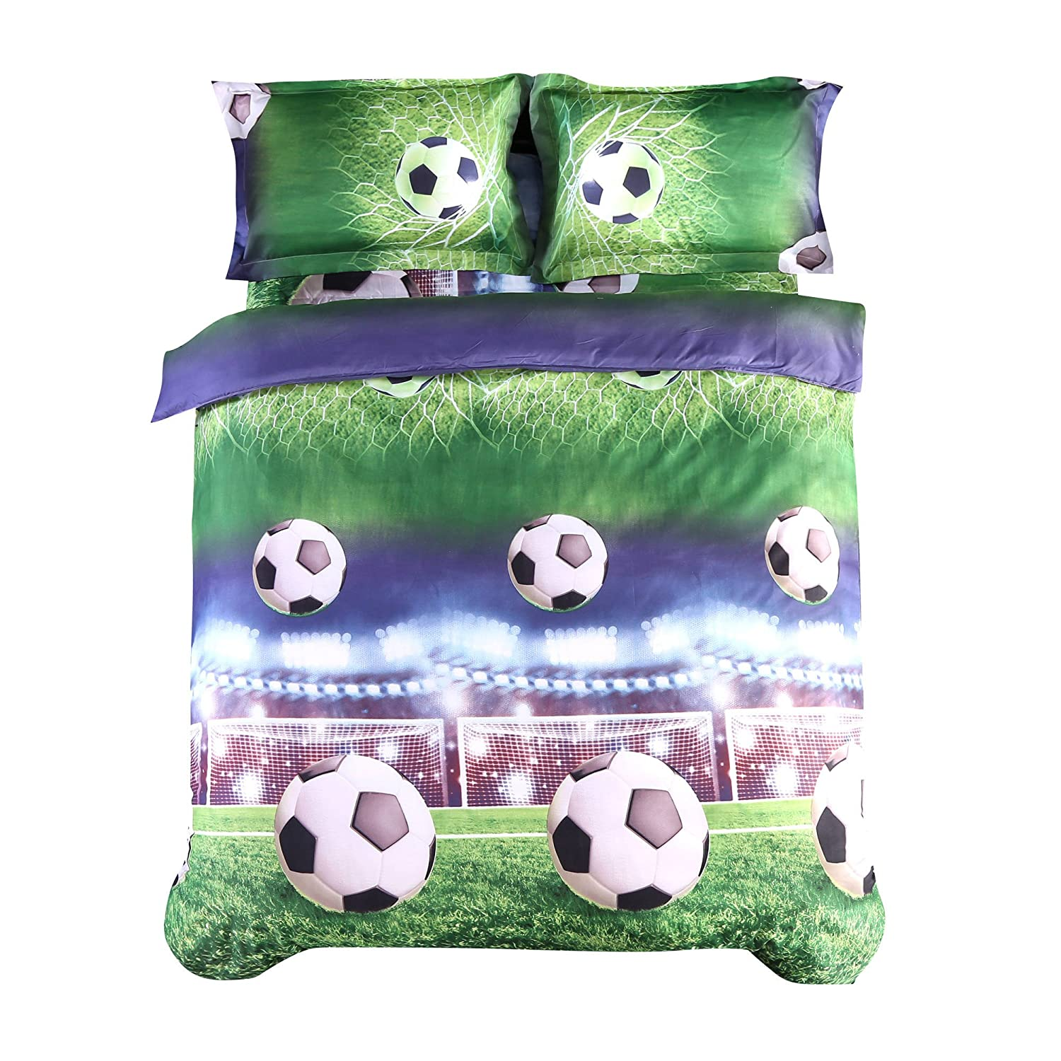 Wowelife 3D Soccer Bedding Set Queen Green Playground Boys Football Duvet Cover Set 4 Piece with Duvet Cover, Flat Sheet and Pillow Cases(No Comforter Included)(Soccer-4 Piece, Queen)
