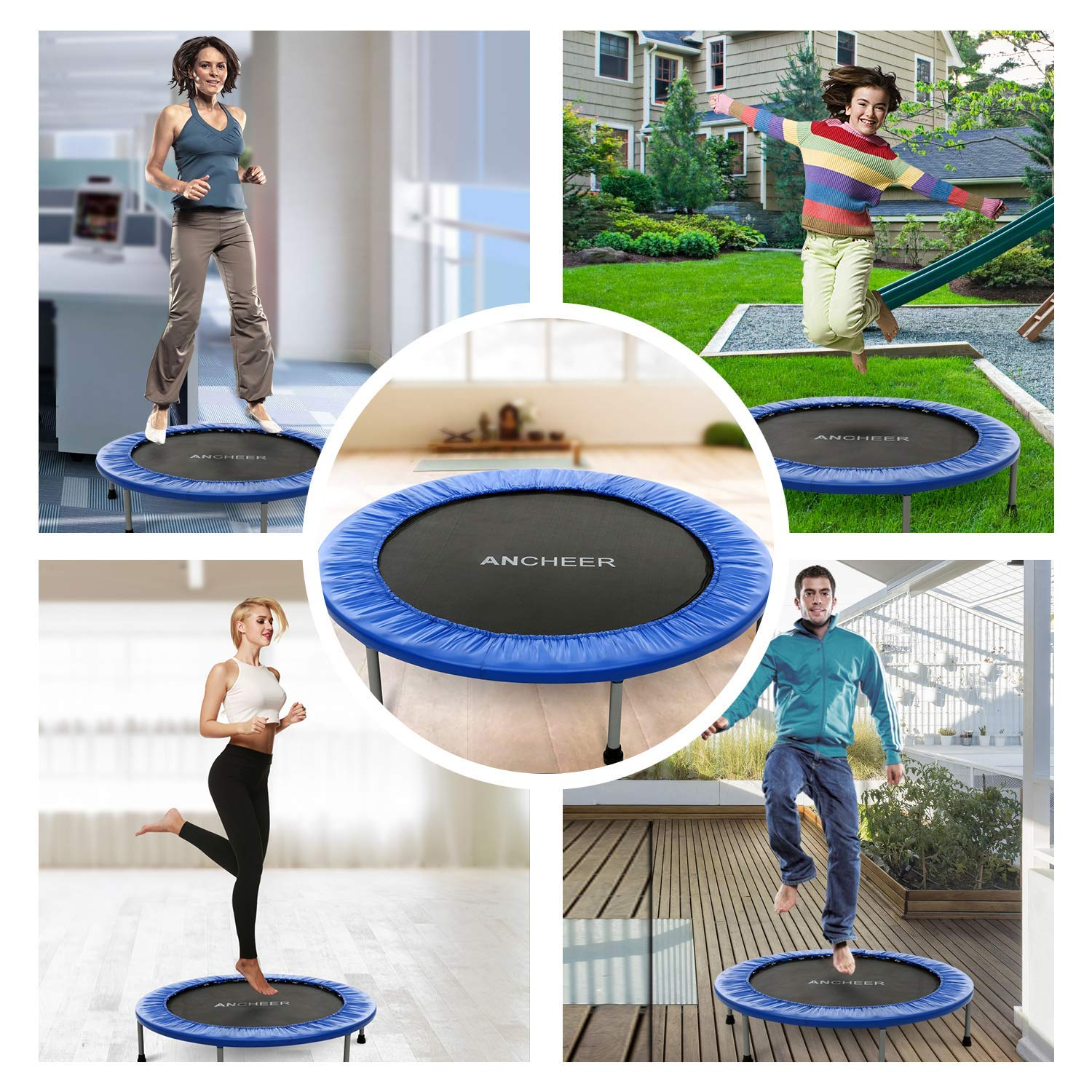 ANCHEER Max Load 220lbs Rebounder Trampoline with Safety Pad for Indoor Garden Workout Cardio Training (2 Sizes: 38 inch/40 inch, Two Modes: Folding/Not Folding) (Renewed) by ANCHEER (Image #7)