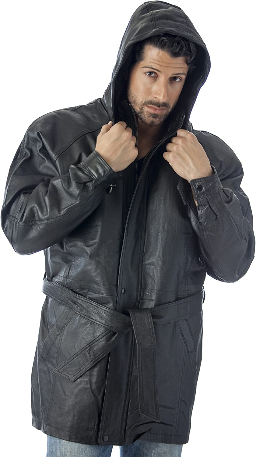 REED Mens Hooded Parka Leather Jacket with Zip-Out Hood
