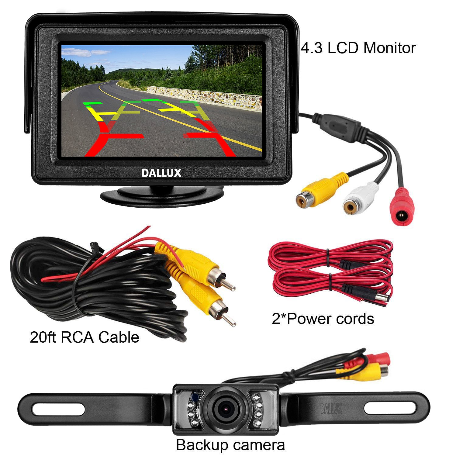 Backup Camera Monitor Kit for car Universal License Plate Reverse Waterproof Night Vision Rearview HD Reversing Camera+4.3 inch LCD Rearview Monitor DALLUX RCS4302