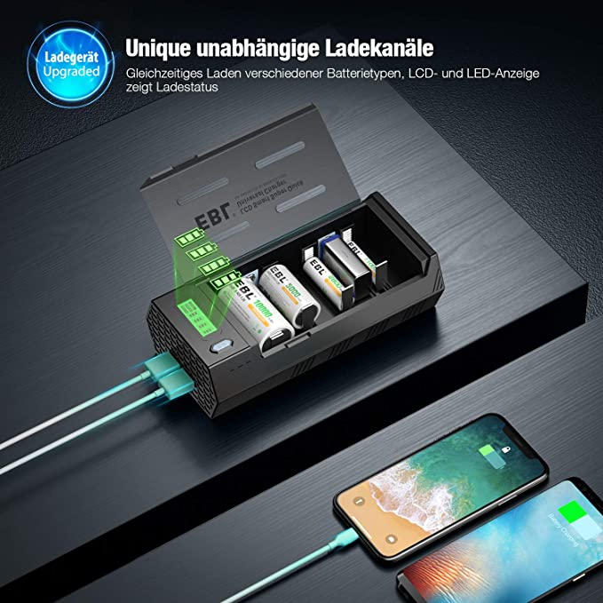 für AA//AAA//SC//Baby C//M... EBL 908 Universal LCD Akku Ladegerät und Entladegerät