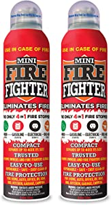 Mini Firefighter MFF02 Multi Purpose 4-in-1 Fire Extinguisher Eliminator for Gasoline, Kitchen Grease, Oil, Electric and Wood Fires. Home Safety (2 Pack)