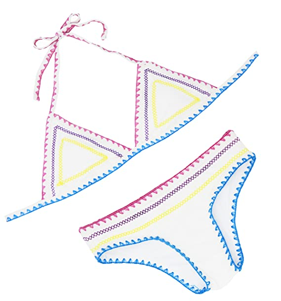 floravogue Halter de la mujer Crochet neopreno triángulo bikini Set ...