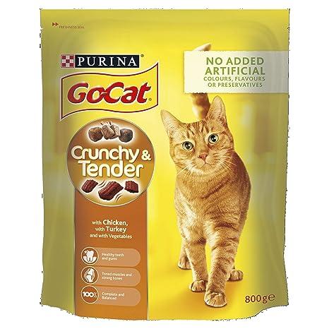 Go-Cat Crunchy and Tender - Gallina/Turquía/Verduras añadidas, Comida Seca