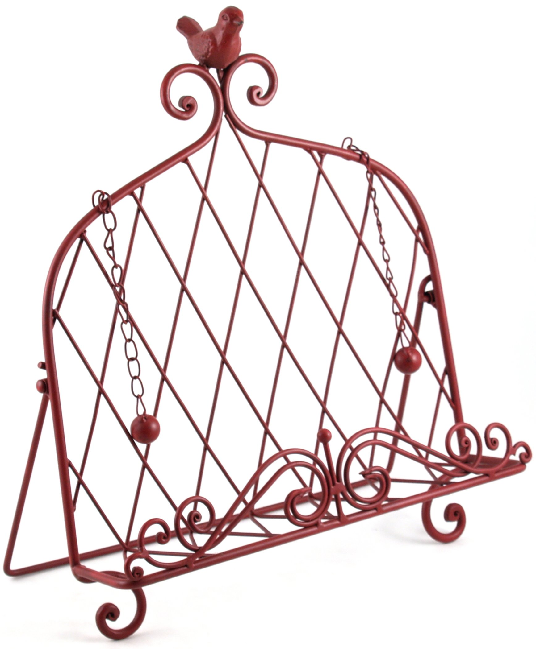 Iron Cookbook Stand ~ Book Holder Adorned with Bird ~ Worn Red Color by Upper Deck, LTD