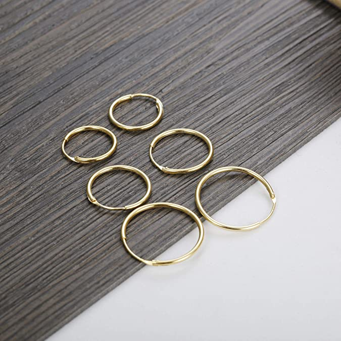ICYROSE 925 Sterling Silver Small 14mm 0.5 inch 1//2 Twisted Endless Hoop Earrings 556