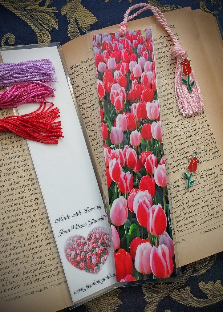 Blooming Dutch Pink and Red Tulips Keukenhof Gardens Lisse Netherlands Europe Spring Floral Photo Bookmark w/Red Cloisonne Holland Tulip Flower Charm Fine Art Photography Laminated Handmade Bookmark