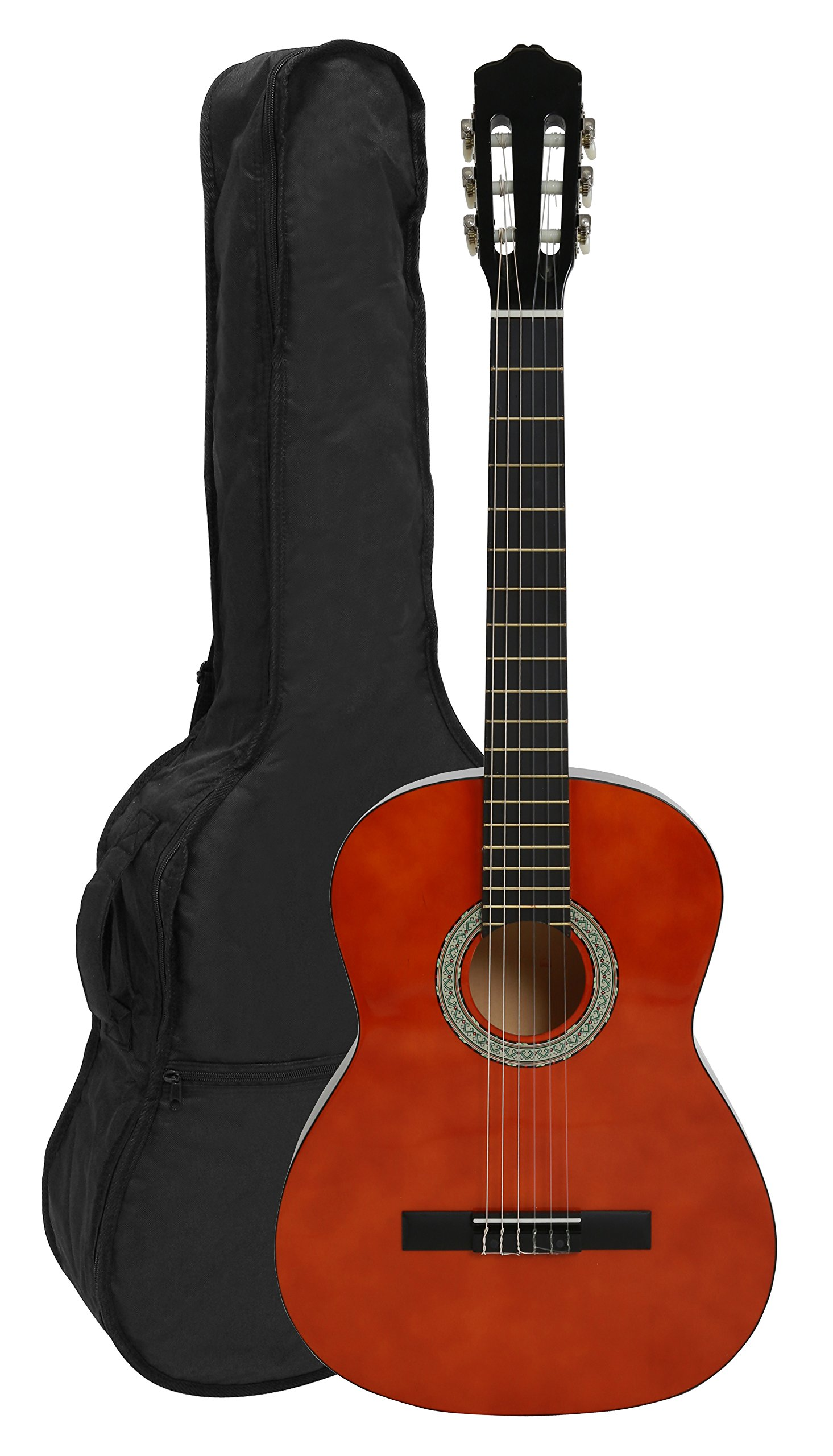 NAVARRA NV11 - Guitarra clásica 4/4 honey con bordes negro incl. funda con