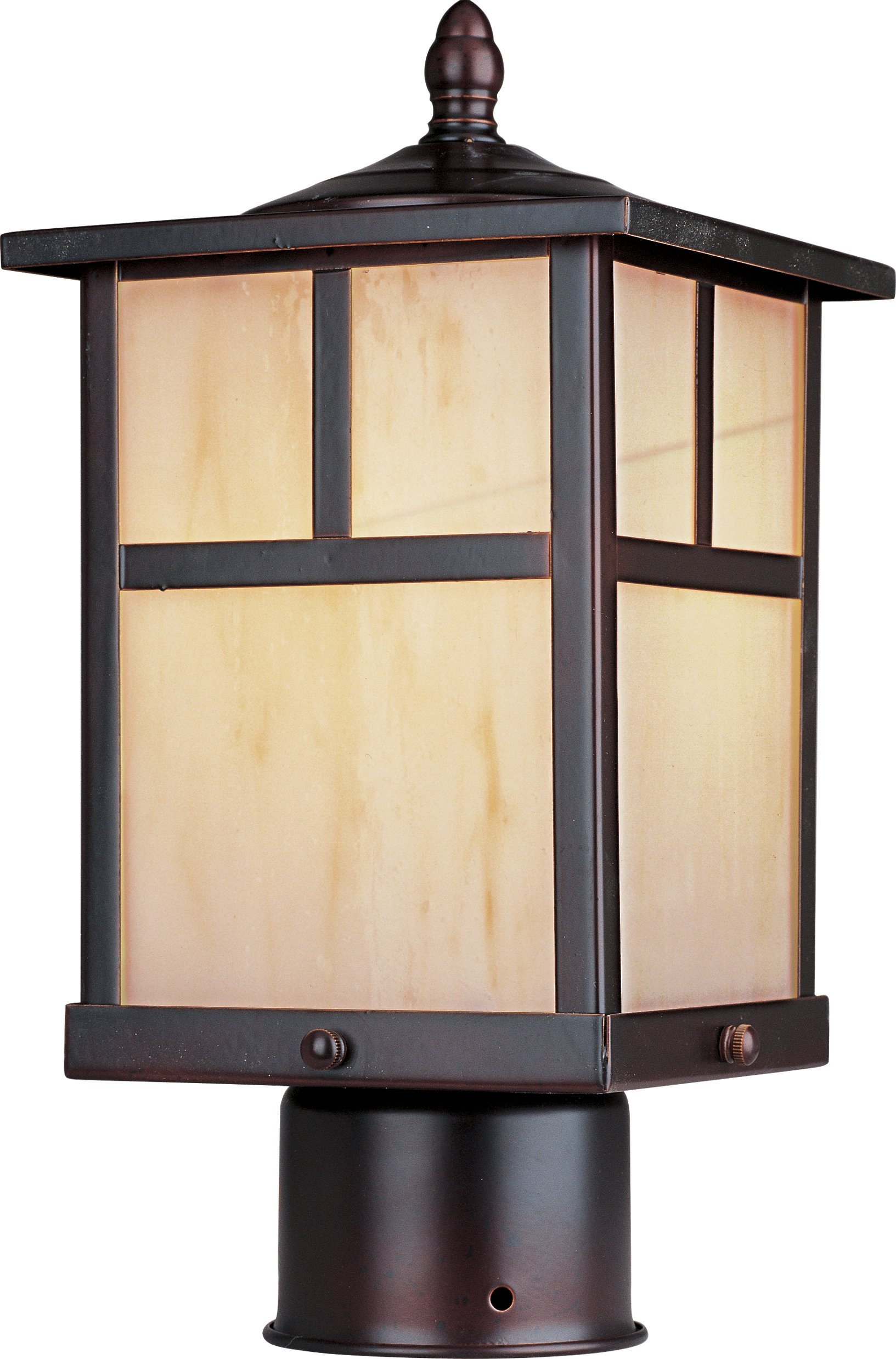 Maxim 85055HOBU Coldwater EE 1-Light Outdoor Pole/Post Lantern, Burnished Finish, Honey Glass, GU24 Fluorescent Fluorescent Bulb , 60W Max., Dry Safety Rating, Standard Dimmable, Glass Shade Material, 1344 Rated Lumens