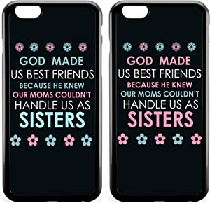 BFF Funny BFF Best Friends Cute Funny God Made Us Best Friends Girlfriend Matching Birthday Friendship Sister Cousins Matching Thing for Girls Teens Black Soft Case for iPhone 8 &iPhone 6