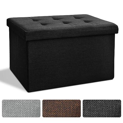 Sitz Bank Mit Stauraum | 2 Größen, Faltbar, Leinenoptik | Große  Aufbewahrungsbox Mit Deckel