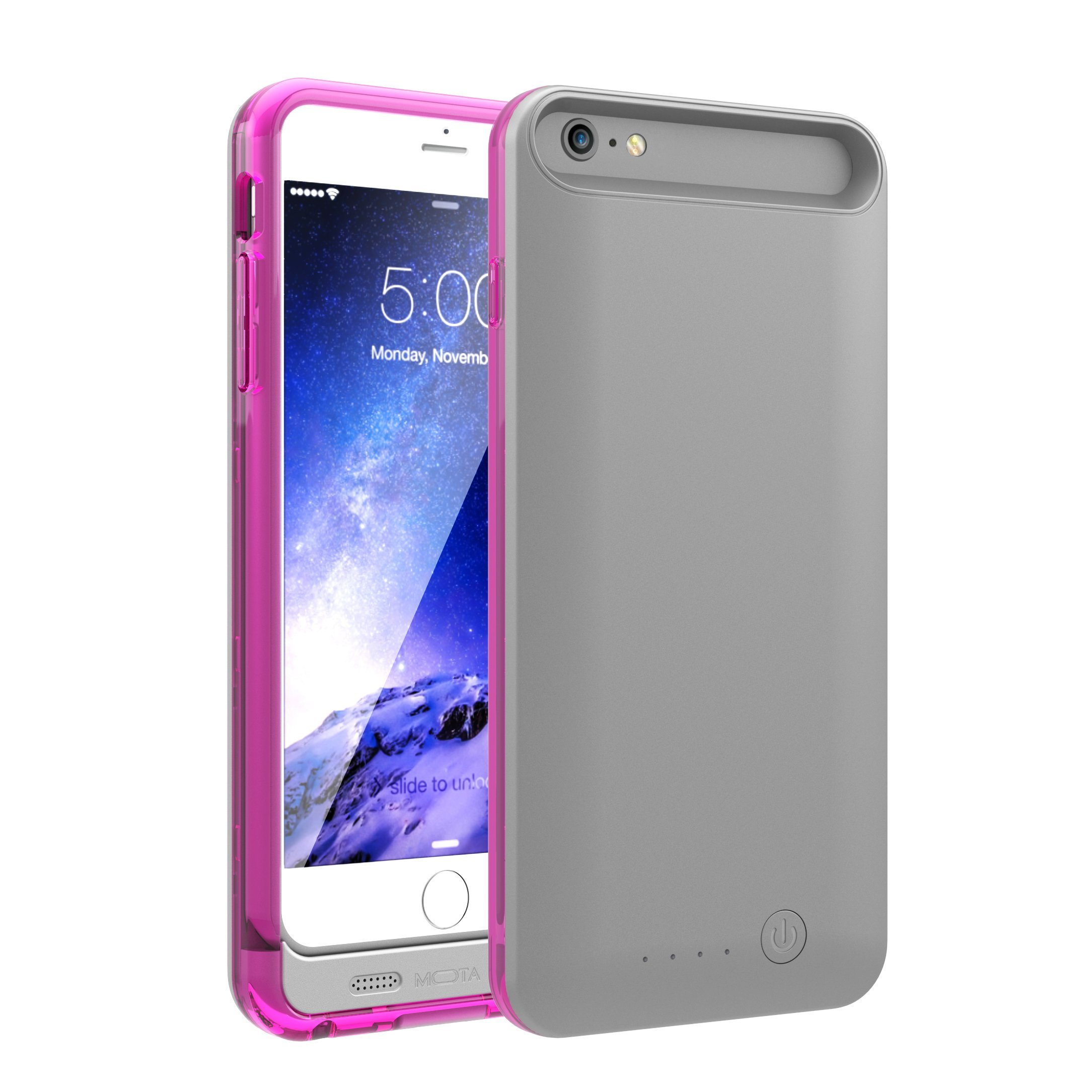 TAMO iPhone 6/6s Extended Battery Case, TAMO 2400 mAh dual-purposed Ultra-Slim Protective Extended Battery Case - Pink - Battery - Retail Packaging - Pink