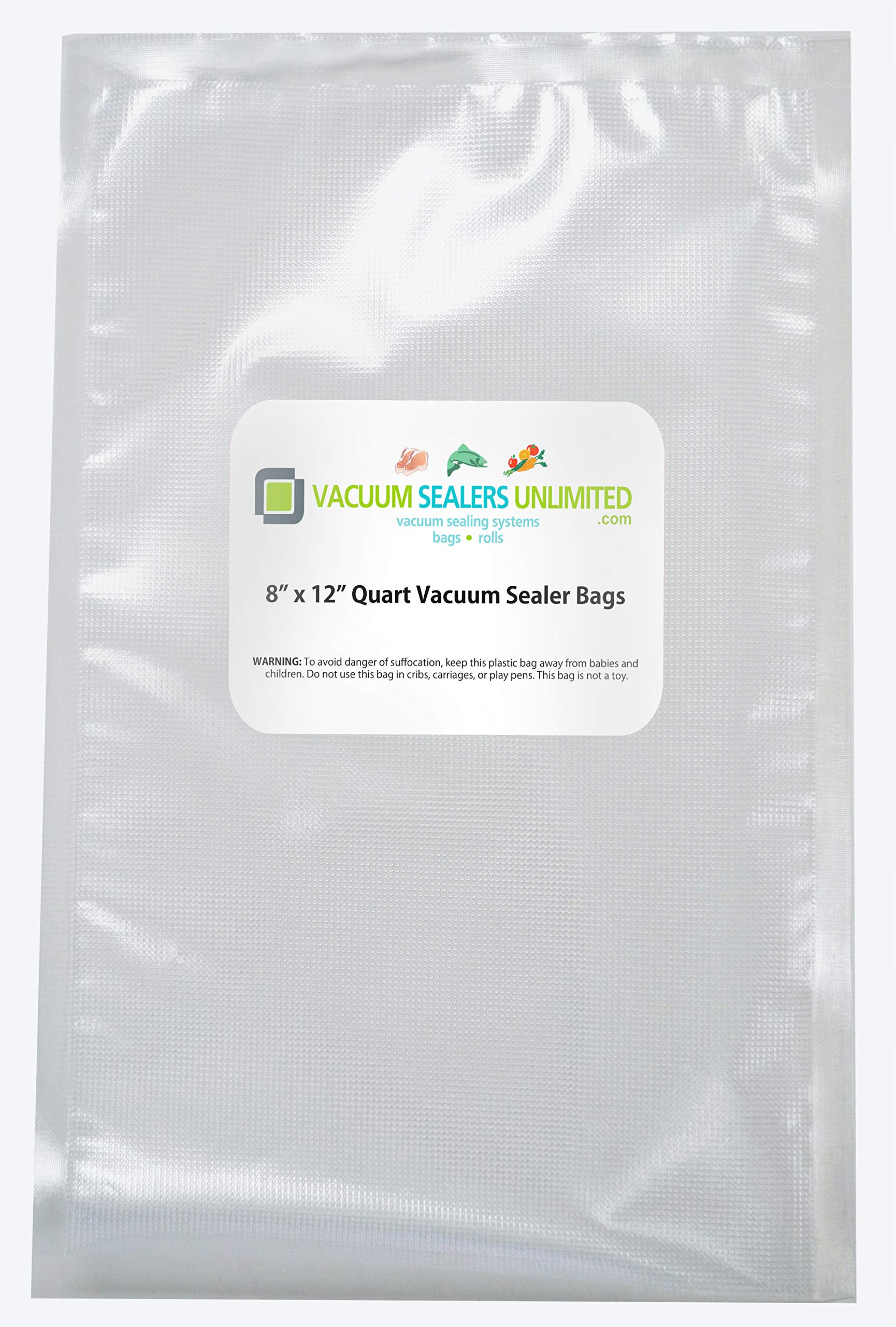 Vacuum Sealers Unlimited 100-8'' x 12'' Quart Bags - Thicker, Heavy-Duty Commercial Quality Textured Vacuum Sealer Bags For Foodsaver etc- BPA Free & FDA Approved