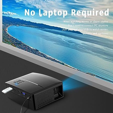 Mini proyector de video GP80, 1800 lúmenes Proyector de LED ...