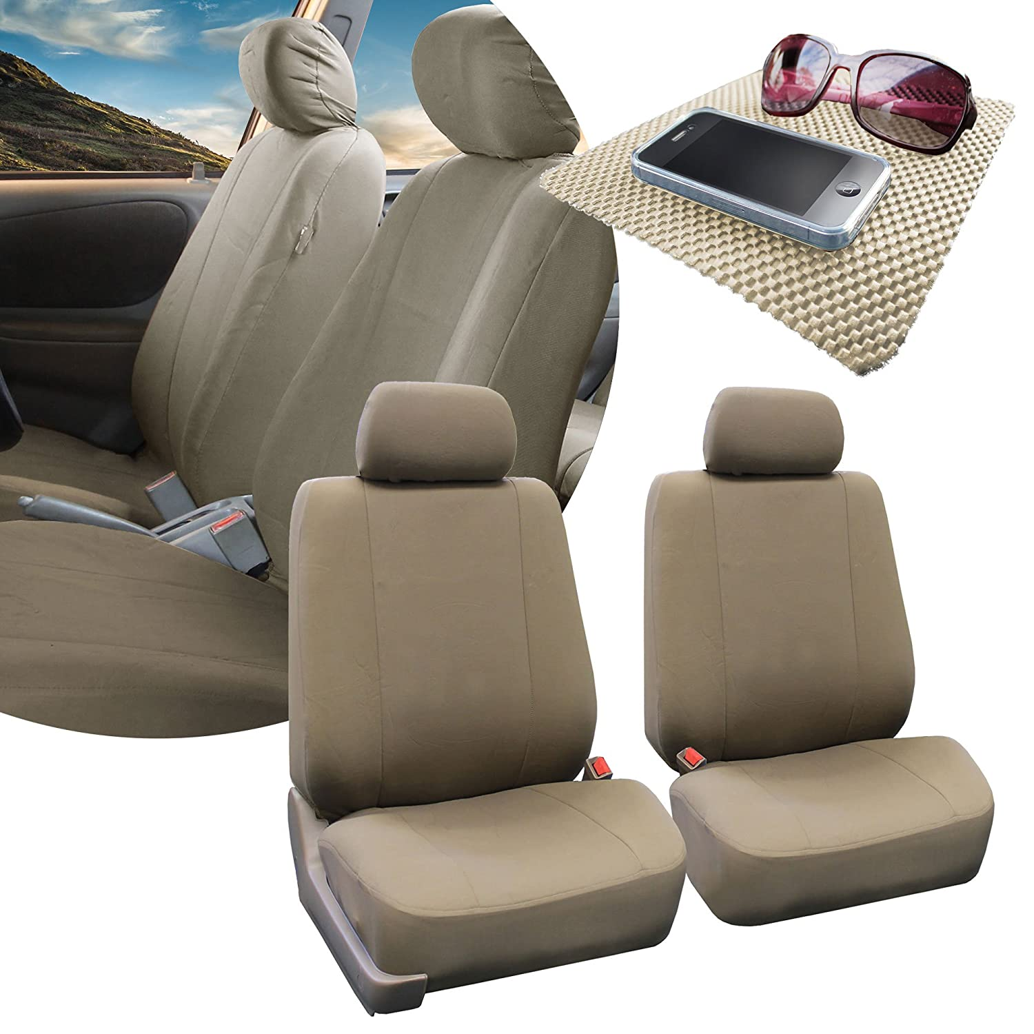 FH GROUP FH-FB052115 Full Set Multifunctional Flat Cloth Car Seat Covers, Airbag Ready and Split, Taupe Color - Fit Most Car, Truck, Suv, or Van
