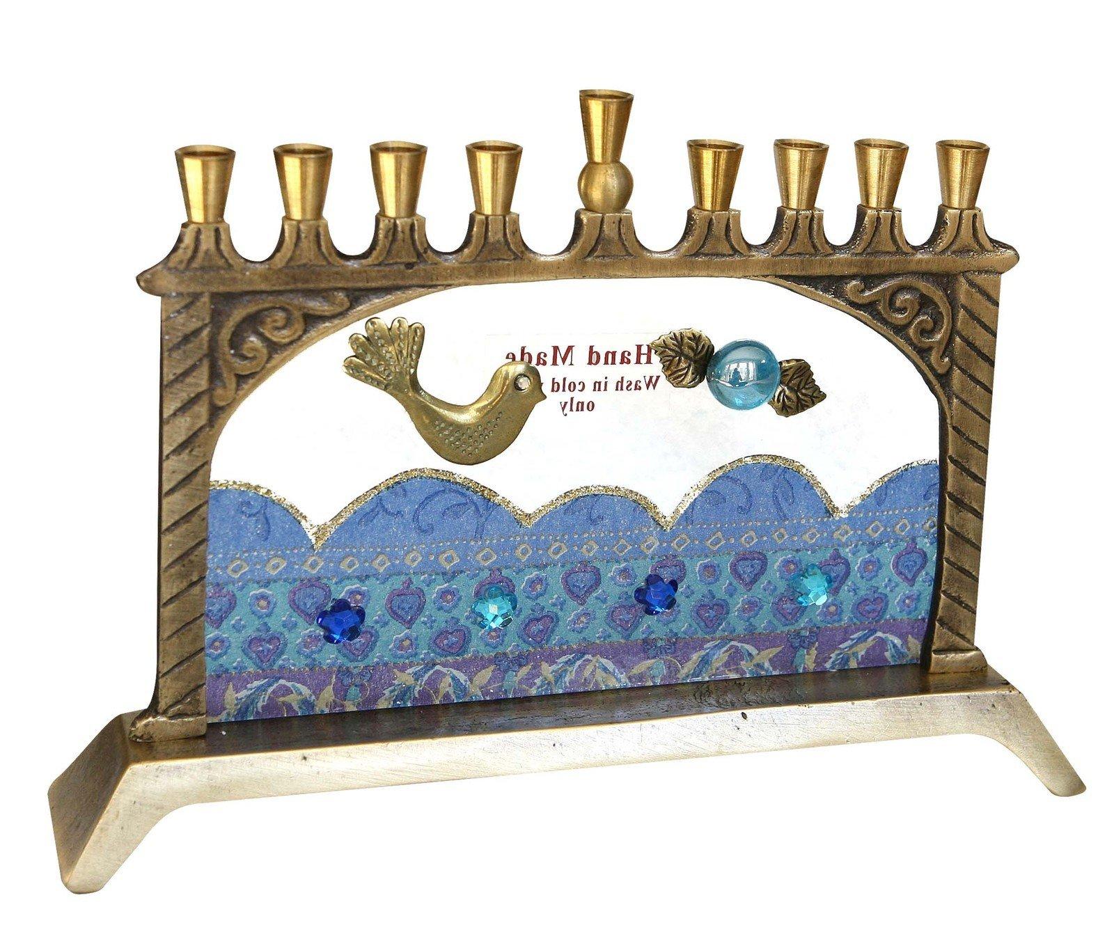 Hanukkah Menorah Hanukkia Unique Glass & Metal Collector's Decoupage Hand Made In Israel By The Artist Lili . Jewish Art. Great Gift For; Shabbat Chanoka Rabbi Temple Wedding Baby Naming Housewarming Bar Mitzvah Bat Mitzva and Jewish Homes.