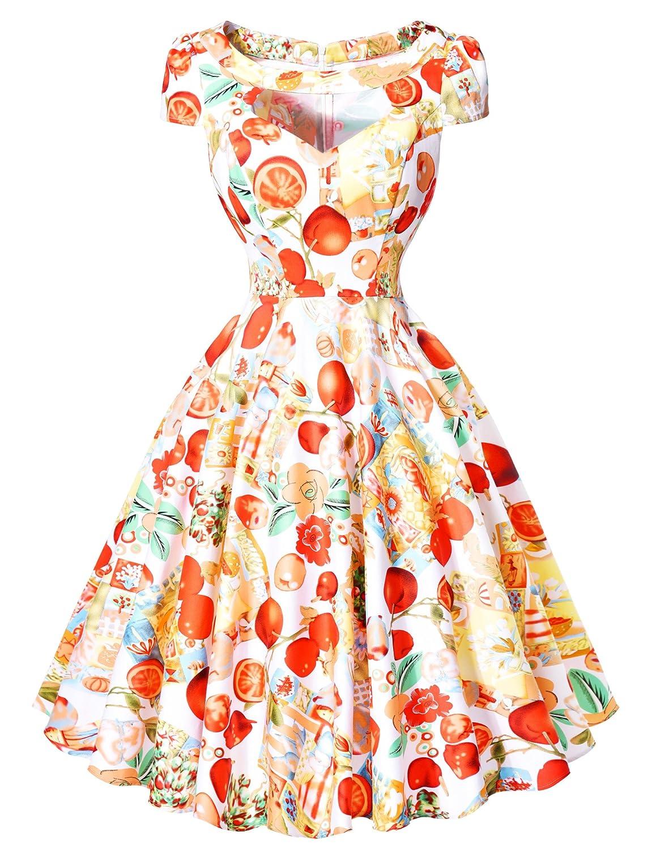 GRACE KARIN® 50er Jahre Kleid Vintage Retro Kleid Sommerkleid knielang Rockabilly kleid in mehreren Farben