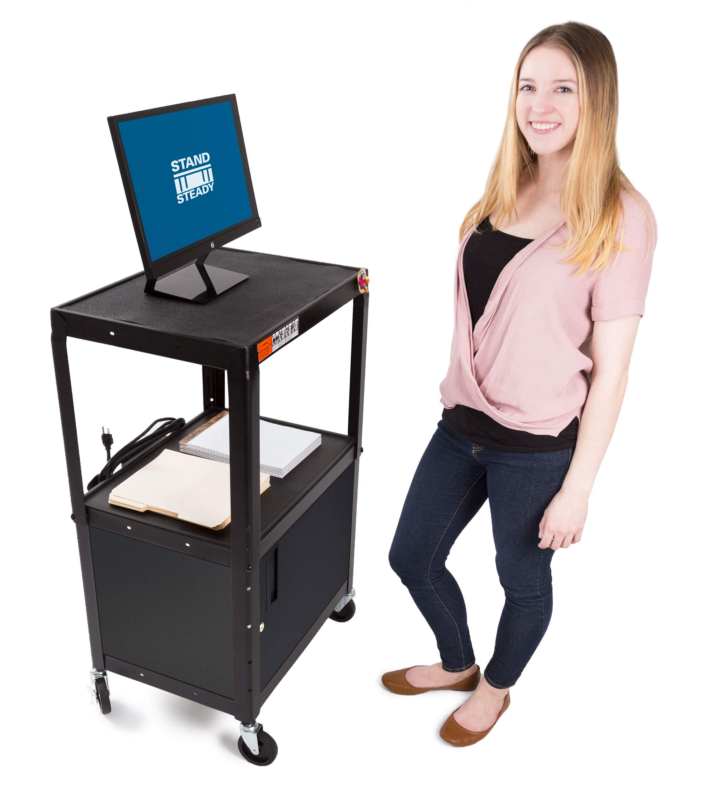 Line Leader AV Cart w/Locking Cabinet | Height Adjustable Utility Cart | Includes Power Strip & Cord Management | Great for Offices, Classrooms, Libraries & More! (Black / 24'' x 18'')