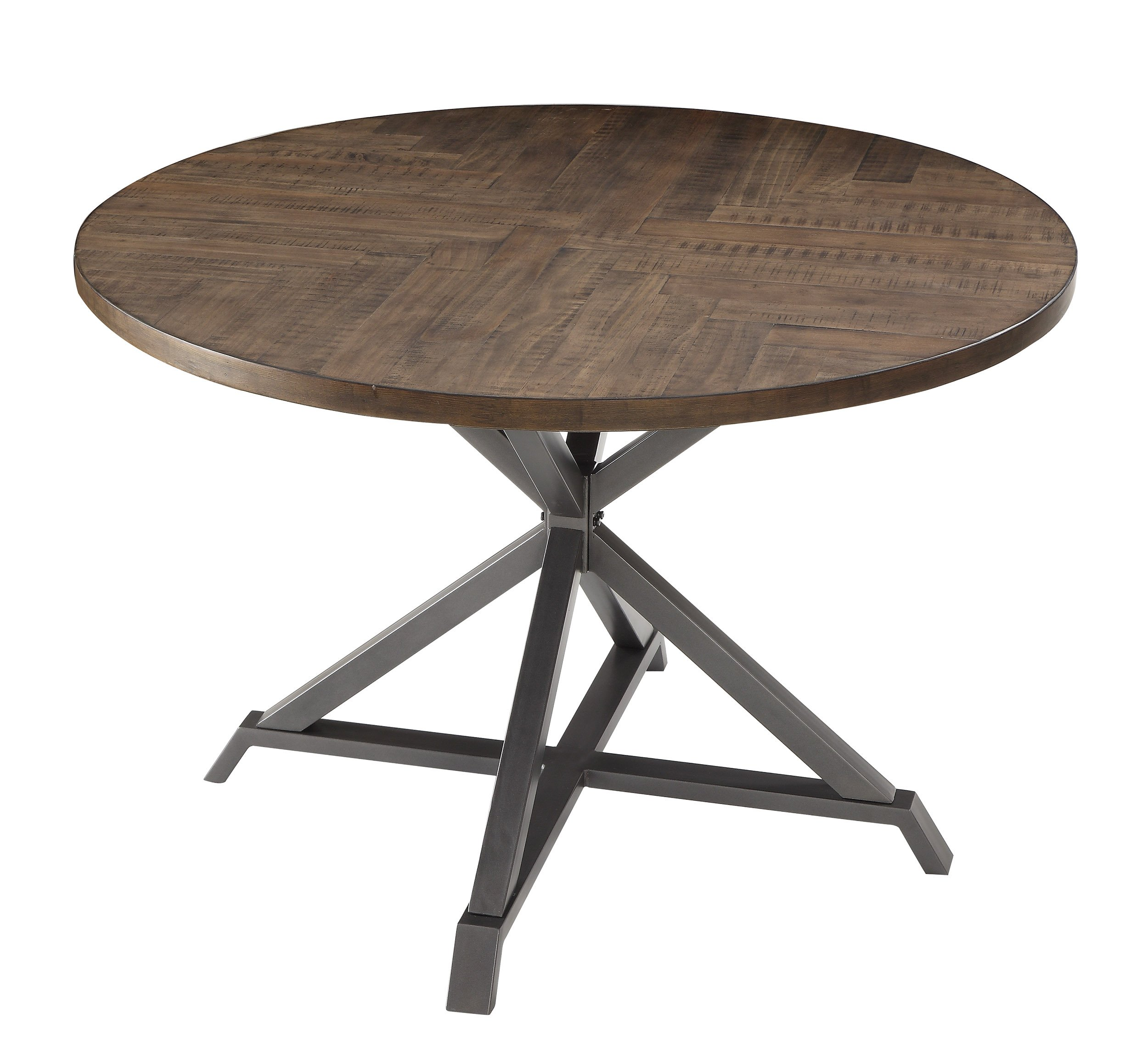 Homelegance Fideo 45'' Round Industrial Style Dining Table, Pine by Homelegance