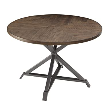 Homelegance Fideo 45  Round Industrial Style Dining Table, Pine