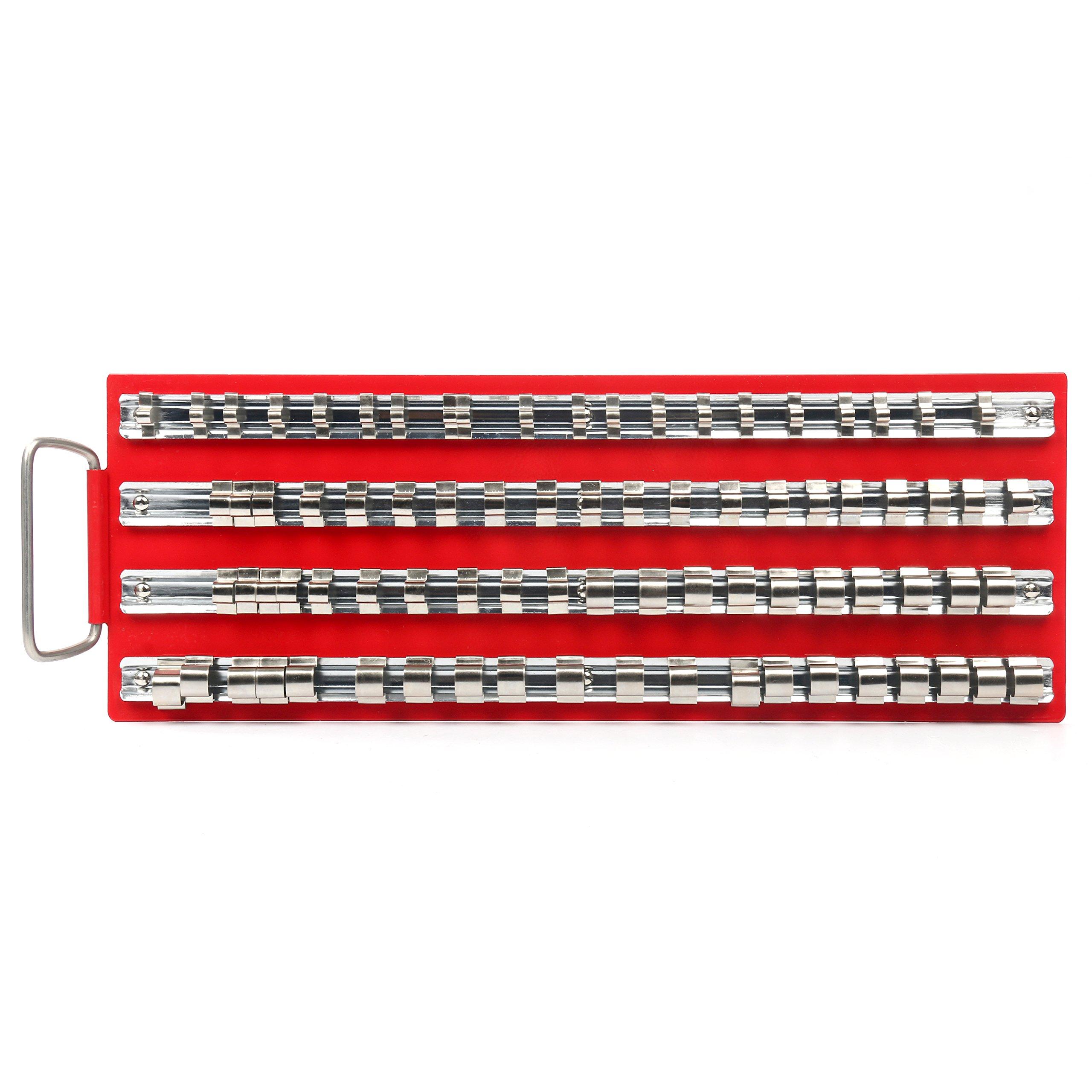 "Yaetek Universal Socket Holders in Organizer Tray Metal Rail   80-Piece Set   1/4"", 3/8"" and 1/2"" Multi-Drive Set"