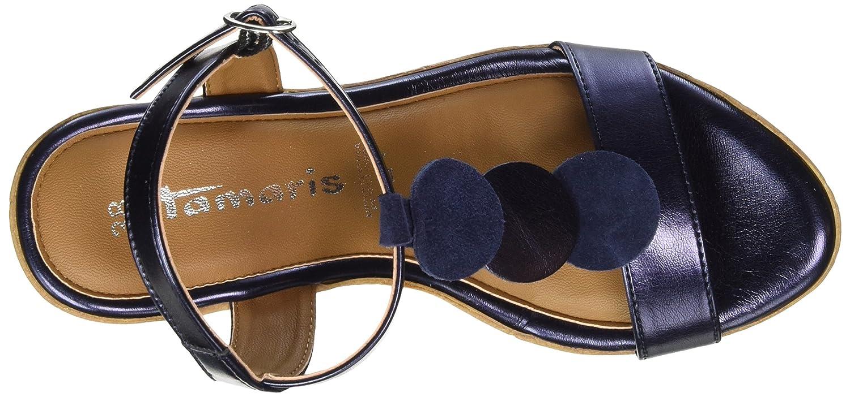 Tamaris Blau Damen 28363 T-Spangen Sandalen Blau Tamaris (Navy Metallic) 03574b