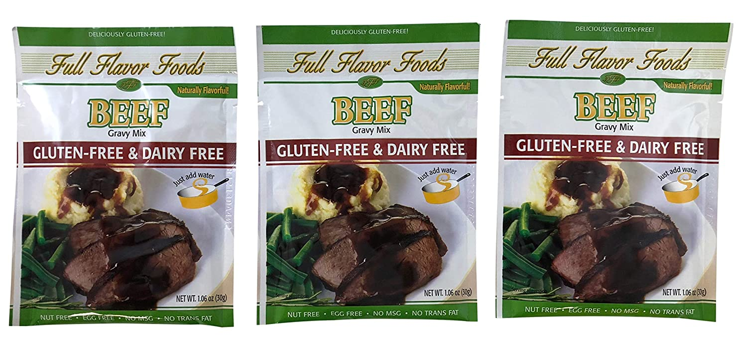 Full Flavor Foods Beef Gravy Mix - Gluten Free, MSG Free, Non Dairy, Nut Free - 3 Packages, 1.06 oz Each