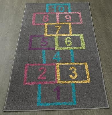 """Ottomanson Children's Garden Collection Grey Background Hopscotch Street Chalk Design 2'7""""X6'0"""" Children Nursery Kid's Play Runner Rug"""