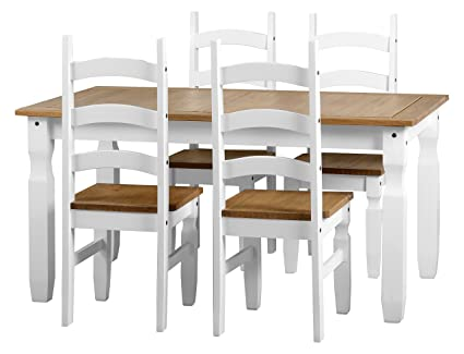 Excellent Seconique Corona 5 Feet Dining Set White Distressed Waxed Pine 539 95 X 1099 95 X 119 95 Cm Gmtry Best Dining Table And Chair Ideas Images Gmtryco