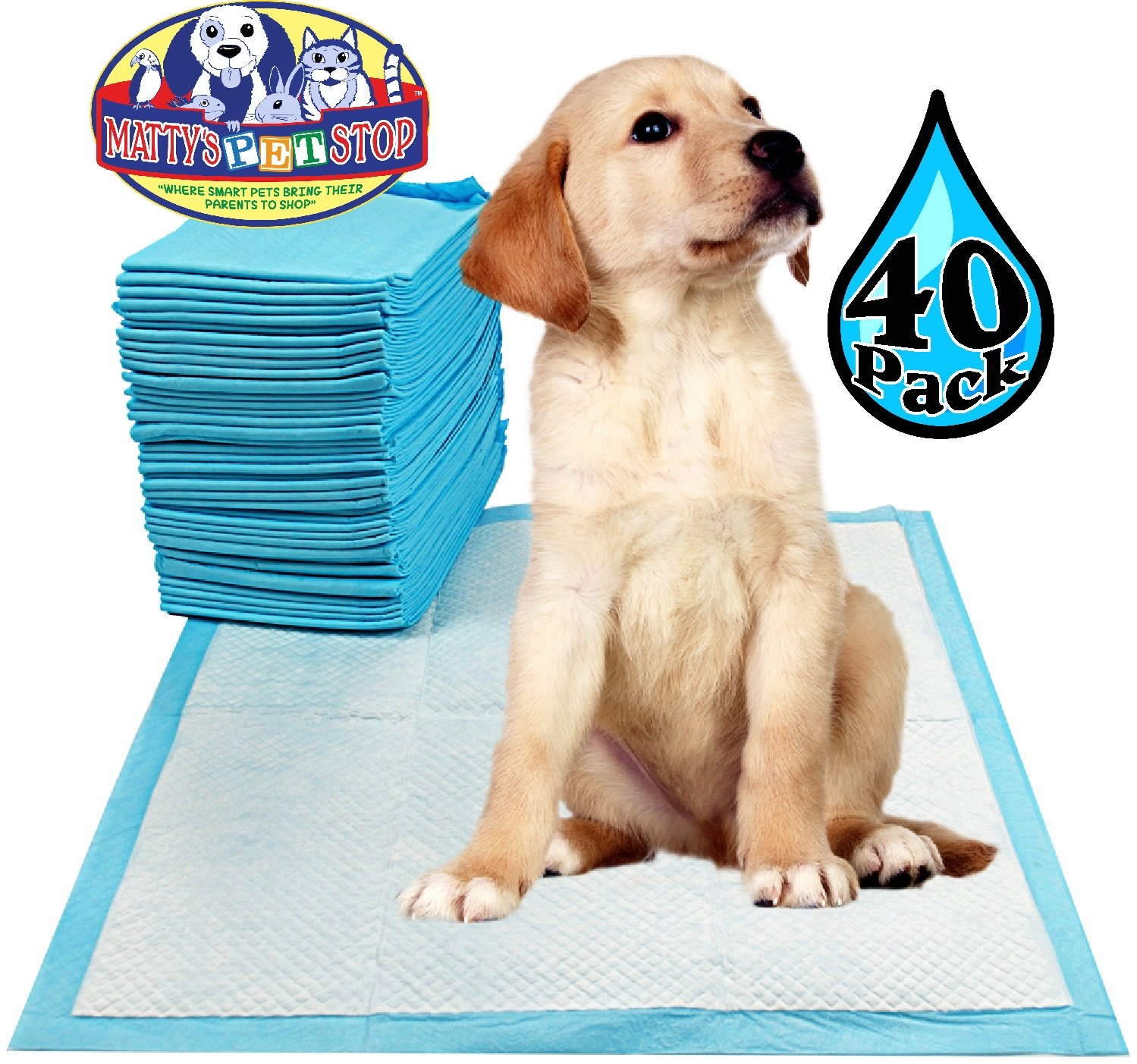Matty's Pet Stop Premium Pet Training Pads for Dog & Puppy (23.6'' x 23.6'') Super-Absorbent - 40 Pack