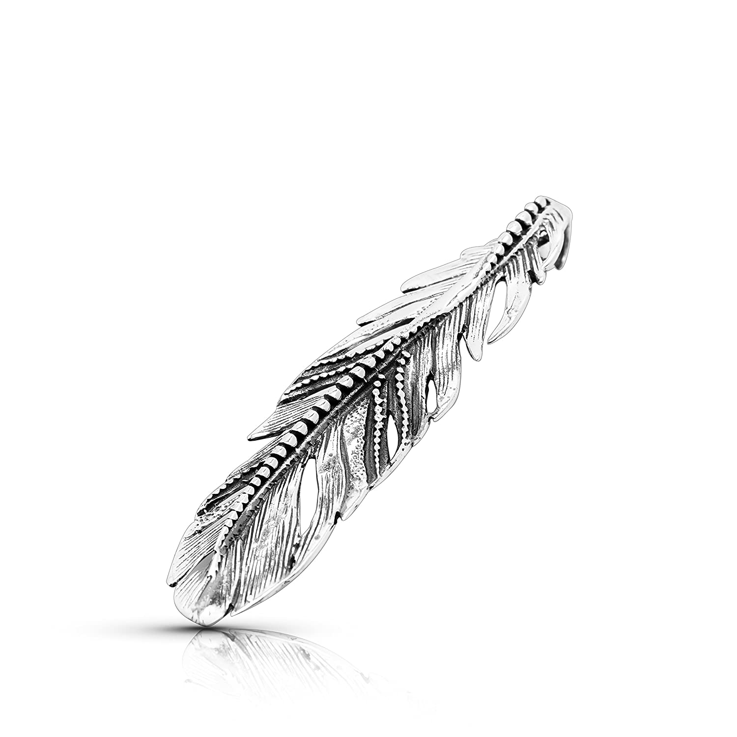 Big Feather Pendant 925 Sterling Silver Native American Tribal Bohemian Jewelry