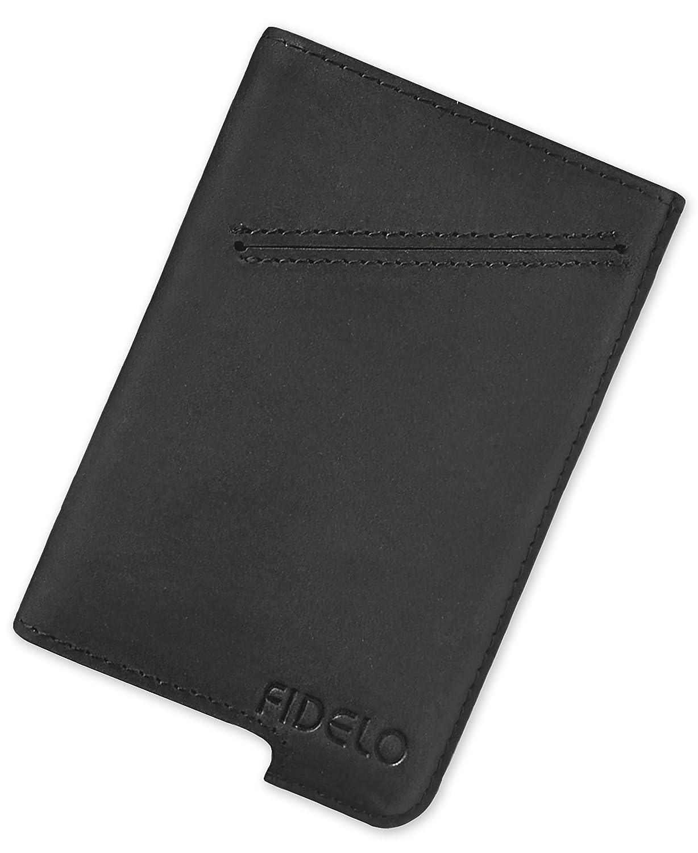 FIDELO Minimalist Wallet for Men – RFID Slim Credit Card Holder Hybrid Desert Tan