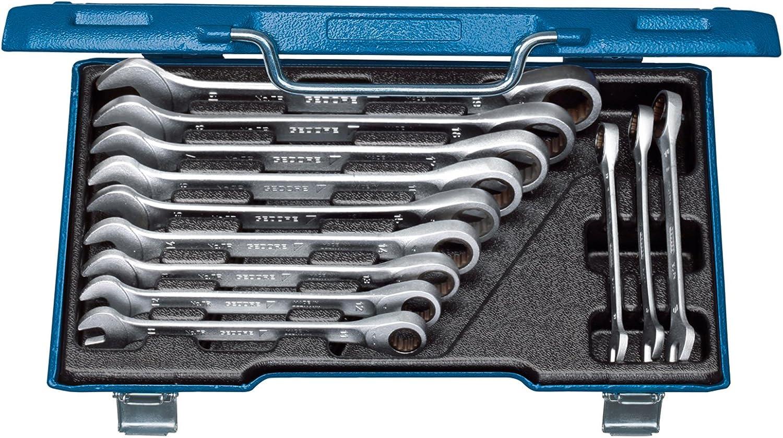 llave poligonal de carraca reversible con malet/ín Dioche Juego de 12 llaves combinadas de 8 19 mm juego de llaves de carraca combinadas profesional con cabeza flexible