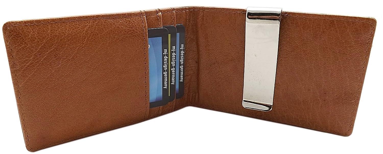 Gewaschenes Rindleder Dollarclip Kreditkartenetui mit Geldklammer MJ-Design-Germany in Cognac