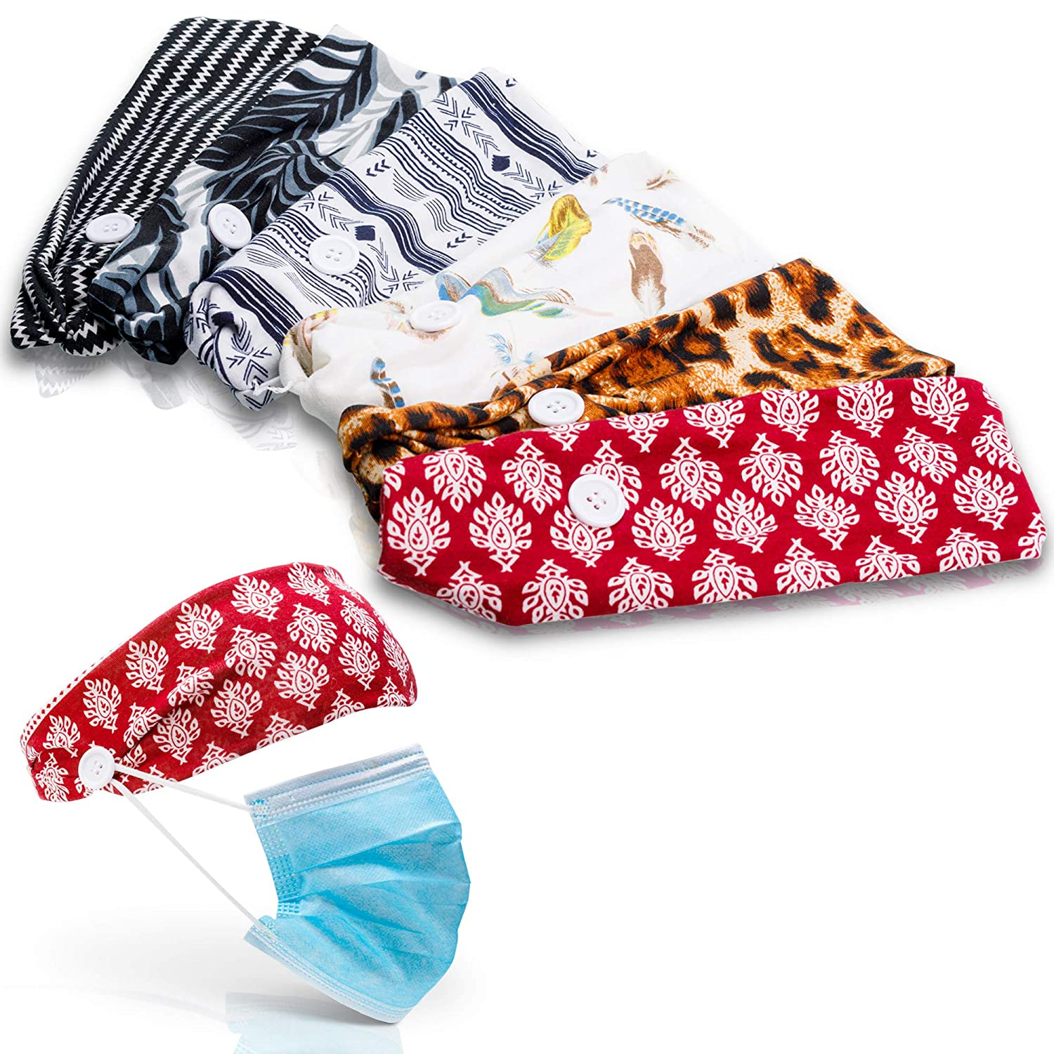 6 PACK BOHO headband with buttons for face mask practical and stylish for nurses, doctors, office environments, gym, yoga, sports, everyday fashion and comfort eliminate ear pain with style