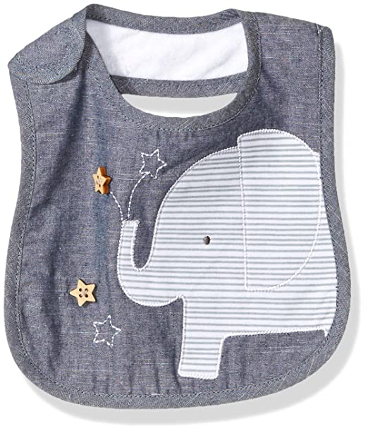 25f79e146 Amazon.com: Mud Pie Baby Boys' Applique Bib, Elephant Chambray, One ...