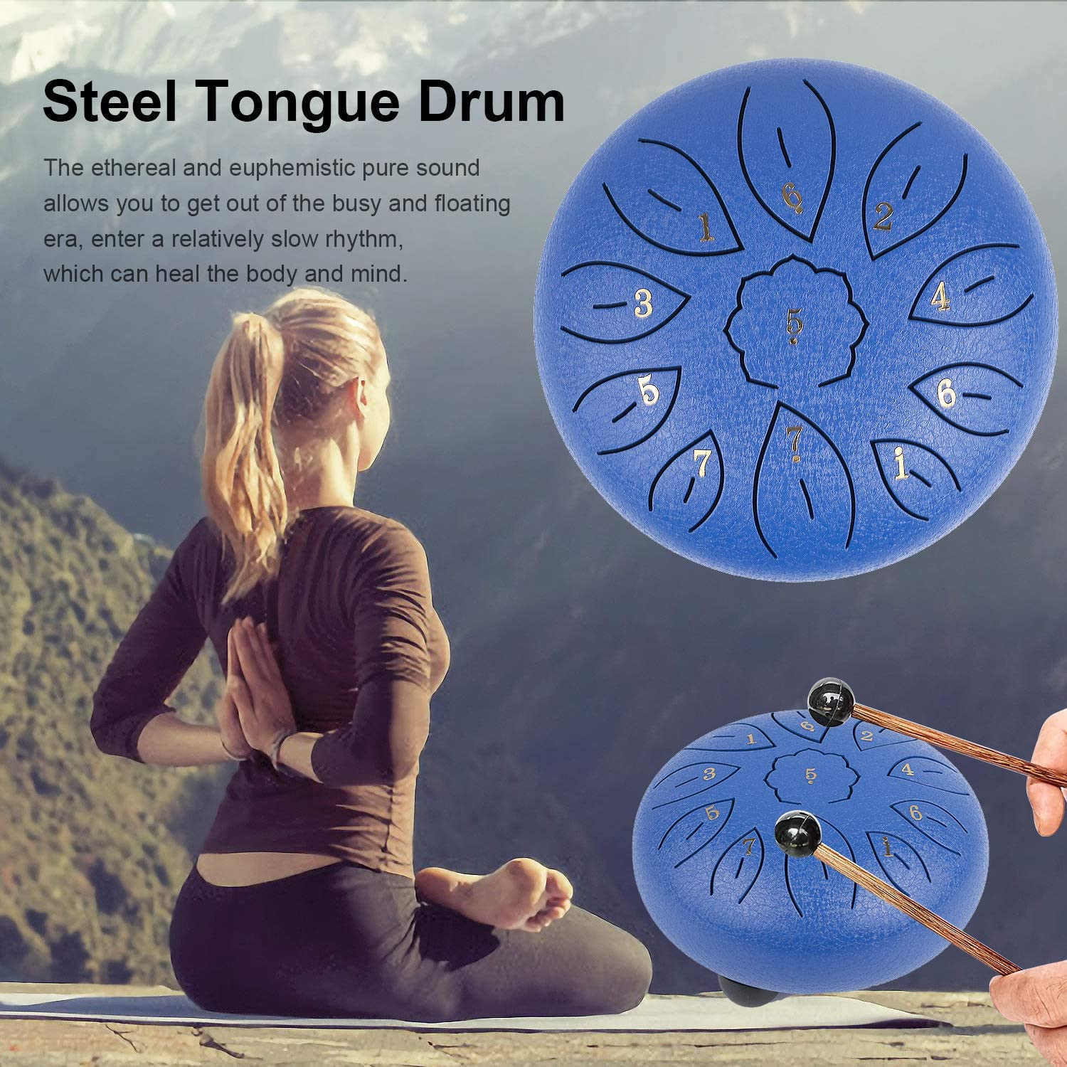 Finger Picks Blue Book Steel Tongue Drum 11 Notes 6 Inches Dia Lotus type Steel Handpan Drum Percussion Drums Instrument Steel Tung Drum C-Key with Mallets Notes Sticker,Drum Stick Holders Bag